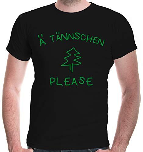 buXsbaum® Herren Kurzarm Bedruckt T-Shirt Ä Tännschen Please | XL, Schwarz
