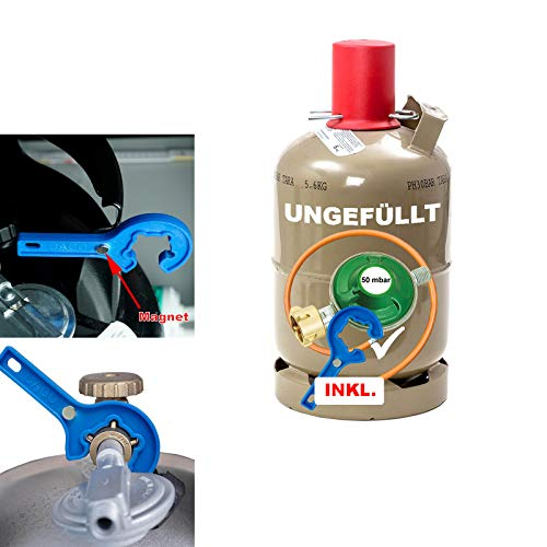 CAGO Propan-Gas-Flasche 5kg grau leer Neuflasche mit Camping Gas-Druck-Regler 50 mbar, Gas-Schlauch 150 cm und Gasregler-Schlüssel Eigentumsflasche
