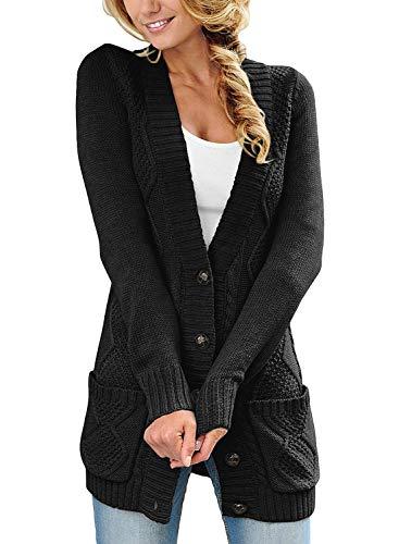 Roskiky Damen Strickjacke mit Knopfleiste vorne, langärmelig und Zopfmuster Schwarz Größe S