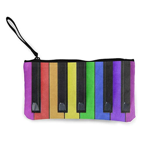 Unisex Wallet, Coin Bags, Canvas Coin Purse Colorful Piano Music Rainbow Customs Zipper Pouch Wallet for Cash Bank Car Passport