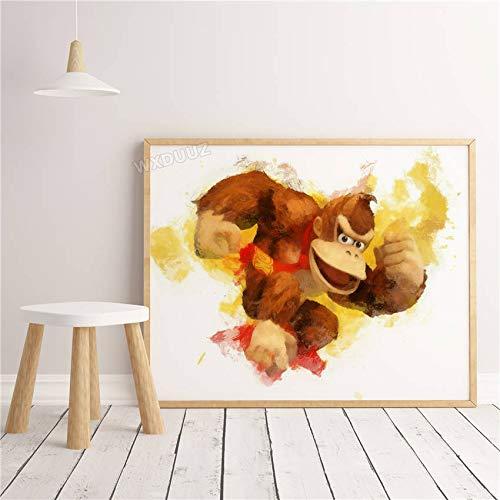 SDFSD 3D Aquarell Klassisches Cartoon-Spiel Nette lustige Figur Poster Tier Wandkunst Wohnkultur Kinderzimmer Kinderzimmer Leinwand Malerei 60 * 100cm K.