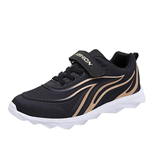 HDUFGJ Unisex - Kinder Sneaker Atmungsaktiv Mesh Laufschuhe Jungen Mädchen Outdoor-Schuhe Bequem Mode Freizeitschuhe Leichtgewicht Faule Schuhe Turnschuhe Fitnessschuhe Flache Schuh30 EU(Schwarz)