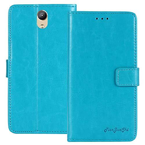 TienJueShi Blue Retro Premium Magnético Función de Soporte Funda Caso de Stent y Ranuras Teléfono TPU Silicona Case para Lenovo Phab 2 6.4 Inch Carcasa Proteccion Cuero Cover Etui