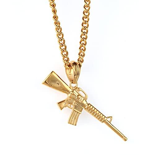 WYHCJJ Colgante Collar joyería Collar de Pistola de policía de Acero de Titanio a la Moda, Collar de Hombre, joyería para Personas, Rifle de Hip Hop, Colgante de Acero de Titanio Regalo de cumpleaños
