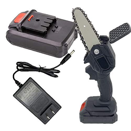 HAUYZ Mini Motosierra 4 Pulgadas 2 unids baterías inalámbrica de Cadena eléctrica, portátil de una Mano 0,7 kg, cizallas de poda Motosierra para la Rama de árbol cortando Black