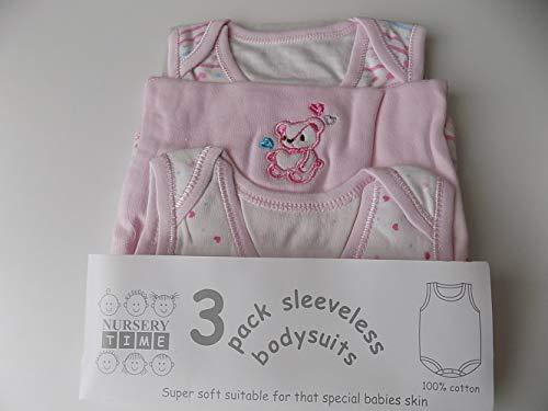 3 Pack Sleevesless Env Neck Cotton Bodysuit Colour Pink Teddy Motif 0 3mths