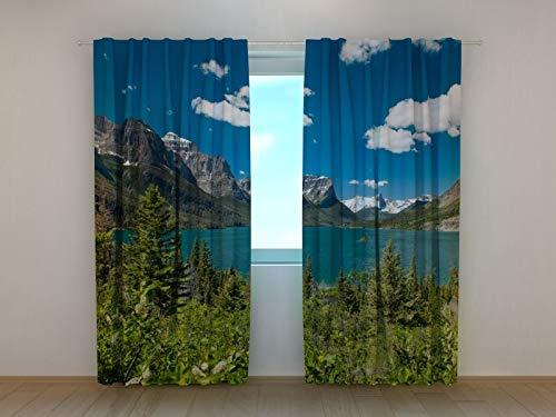 Wellmira Fotogardinen, Vorhang mit Fotodruck, Fotovorhang mit Motiv, Bedruckte Gardine, Maßanfertigung (Chiffon, 245x250 cm)