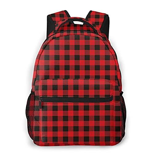 Mochila negra roja de búfalo a cuadros para escuela secundaria universitaria, estudiante, libros, adolescentes, computadora portátil, bolsa casual