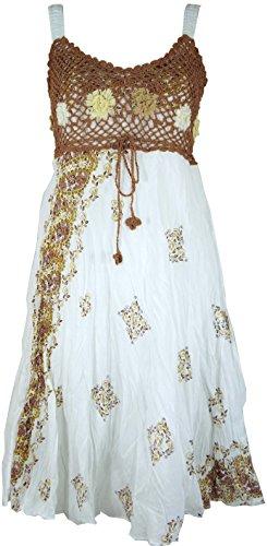 Guru-Shop Boho Minikleid, Sommerkleid, Krinkelkleid, Damen, Weiß/Cappuccino, Synthetisch, Size:38, Kurze Kleider Alternative Bekleidung