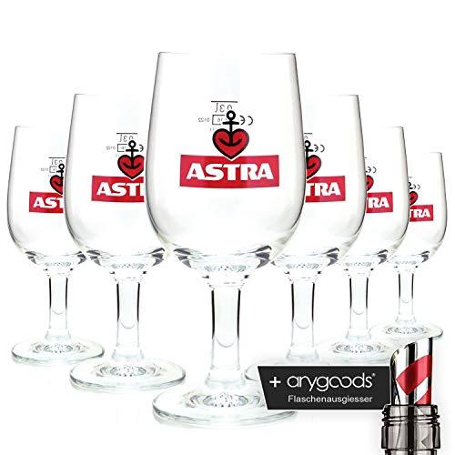 6 x Astra Herzanker 0,3l Glas/Gläser, Markenglas, Bierglas NEU + anygoods Flaschenausgiesser