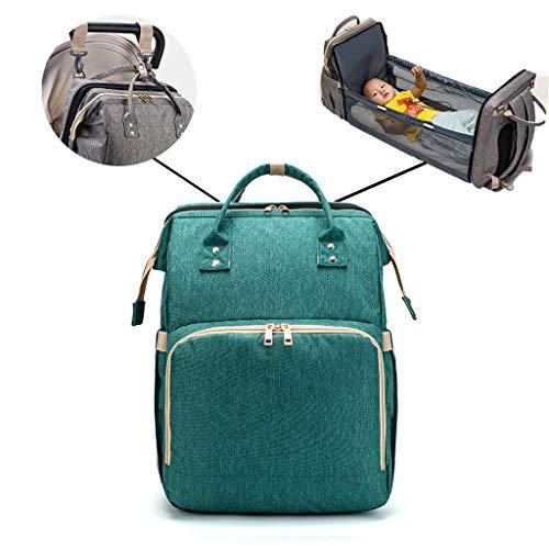 Mochila plegable 2 en 1, multifuncional, de gran capacidad, bolsa de pañales, bolsa de pañales, bolsa de bebé, cambiador, bolsa de maternidad, mochila de viaje con 2 correas de gancho para cochecito As see the picture verde