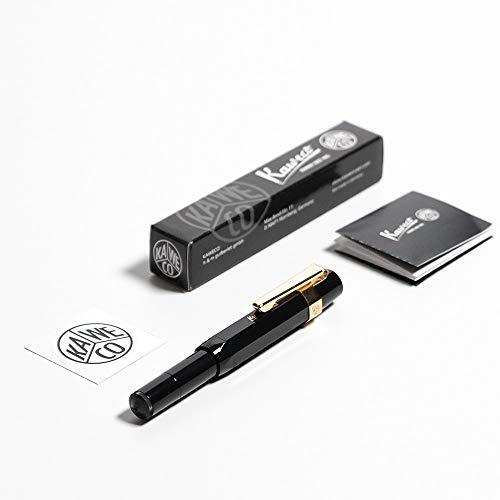 Kaweco Sport Classic Fountain Pen Black, Fine Nib with Kaweco Sport Octagonal Clip Gold