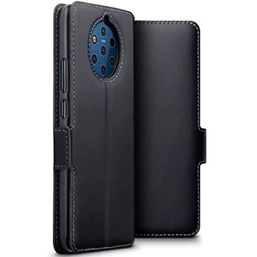 TERRAPIN Custodia Nokia 9 PureView, Vera Pelle della Cassa del Raccoglitore con Funzione di Appoggio Posteriore per Nokia 9 PureView Cover Pelle, Colore: Nero