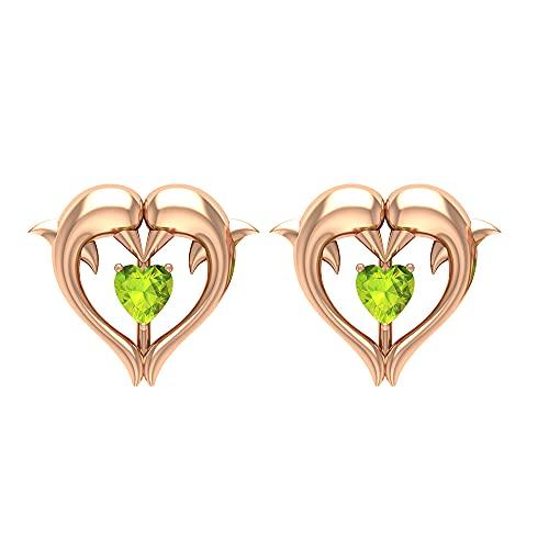Rosec Jewels 14 quilates oro rosa corazón Green Peridoto/Olivino