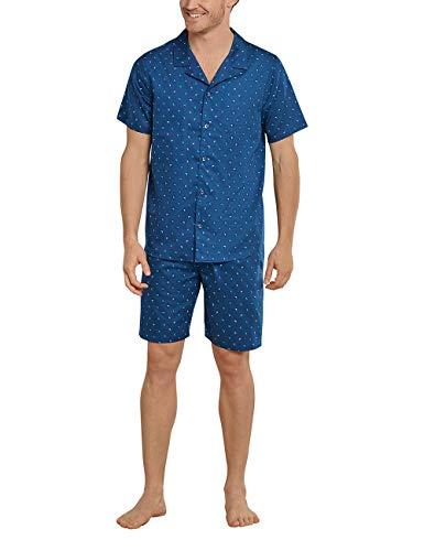 Schiesser Herren kurzer Schlafanzug mit Knöpfen zum Öffnen, blaugrau, 52