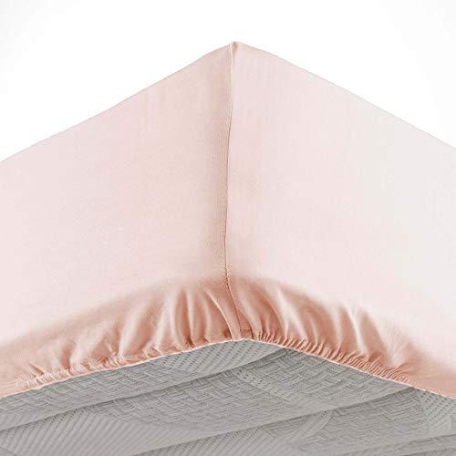 Douceur d'Intérieur - Sábana Bajera para Cama Individual (90 x 190 cm, Microfibra Oscar Nude, 100% poliéster)