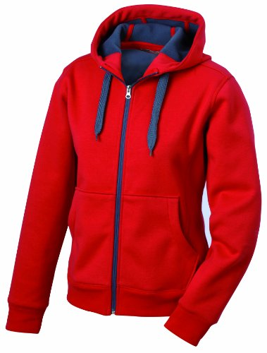 James & Nicholson Herren Doubleface Jacket Jacke, Rot (red/carbon), Large