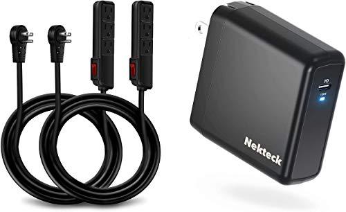 Nekteck [UL Certified] 6 Feet Power Strip Extension Cord [2 Pack] and Nekteck 100W USB C Charger GaN Tech, PD 3.0 Wall Adapter
