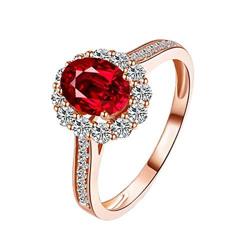 Bishilin Anillos de Oro Rosa 750 Anillo de Bodas de 18K Clásico Bandas de Boda Rojo Rubí Diamante Anillo de Compromiso de Boda Forma Ovalada Aniversario de La Joyería de Las Mujeres Plata Roja