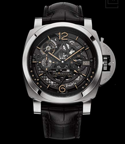 JFfactory nuevos Hombres automático mecánico Cristal de Zafiro Trasero Acero Inoxidable Relojes GMT Cuero Negro tourbillon Luminoso AAA + Negro