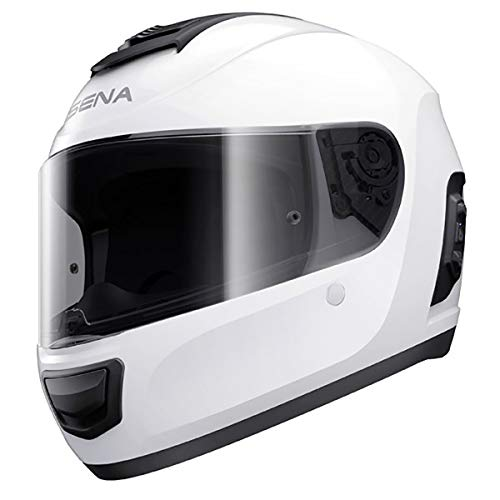 Sena Momentum Full Face Street Motorcyle Helmets - Glossy White Large