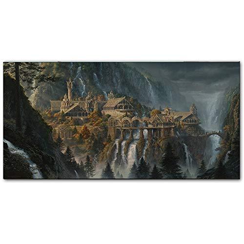 Peinture Toile Lotr Rivendell Seigneur Des Anneaux Affiches Hobbit Hd Impressions Mur Art Peinture À L'Huile Image Décorative Moderne Décor À La Maison Peintures 50 * 70cm