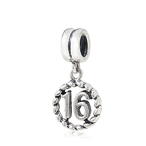 (16) - Artbeads Dangle Beads Lucky Number 16 Charm My Sweet Sixteen Charm 925 Sterling Silver Beads Fit for DIY Charms (16)