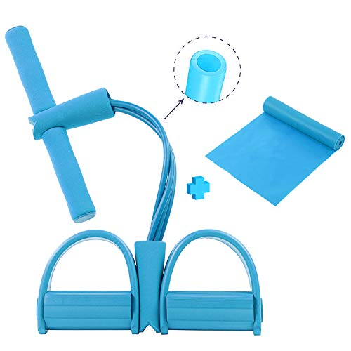 N/B Multifunctional Tention Rope Pedal Resistance Band for Ab,Waist,Arm,Leg Training - 4-Tube Fitness Elastic Sit Up Pull Rope and Stretch Bands Set for Home Workouts Blue