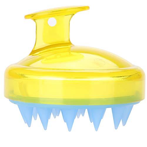 5 couleurs masseur brosse de poche tête outil de soin de la peau nettoyage en profondeur cuir chevelu shampooing peigne de douche pour tête muscle relaxant cheveux bain lavage(Jaune)