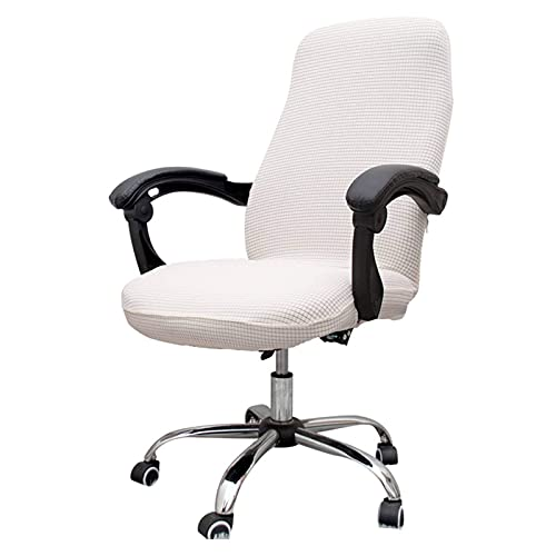 Dining Chair Slipcovers Office Chair Covers, Stretch Computer Office Chair Covers Elastic Waterproof Rotating Chair Slipcovers Desk Chair Covers Machine Washable for WomenCreamy White Larg
