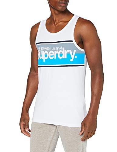 Superdry Core Logo Stripe Vest Camiseta sin Mangas, Blanco (Optic 01c), XL para Hombre