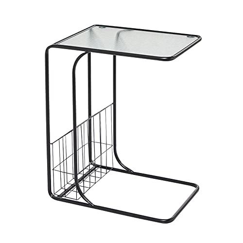 LUO Tavoli Tavolino/Tavolino A Forma di C, Pannello in Vetro Temperato, Staffa in Metallo Nero, Sofà Soggiorno Miglior Compagno (Dimensioni: 49 × 33 × 60 Cm)