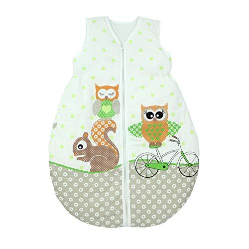 TupTam Unisex Baby Schlafsack ohne Ärmel Wattiert, Farbe: Eulen 2 Grün, Größe: 92-98