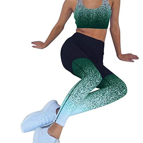 B/H Ropa Deportiva Mujer Gym Conjuntos,Traje Deportivo Sexy, Conjunto de Yoga Fitness gradiente para Mujer, chándal, Gimnasio, Jogging, Ropa Deportiva, Green_Set_XL