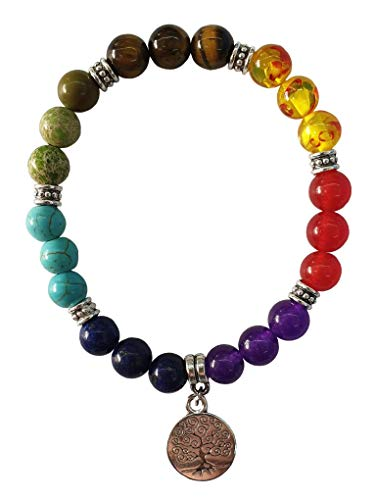Women's bracelet 'Chakra Tree of Life' 21 gemstones with metal pendant and flexible rubber band, diameter 7 cm, 20 g.