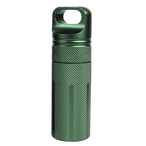 Chytaii Pillendose wasserdichte Kapsel Tablettendose Outdoor Medikamentendose aus Aluminium für Tablett Medikamenten Grün