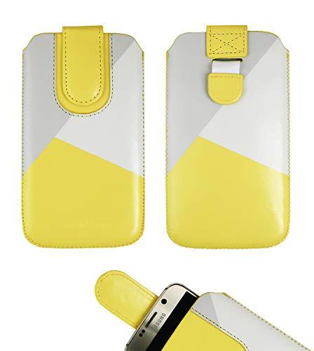 Emartbuy Giallo/Grigio Cuoio PU Custodia Pouch Copertina Sleeve (Misura 4XL) con Meccanismo Linguetta Compatibile con Smartphone Elencati di Seguito