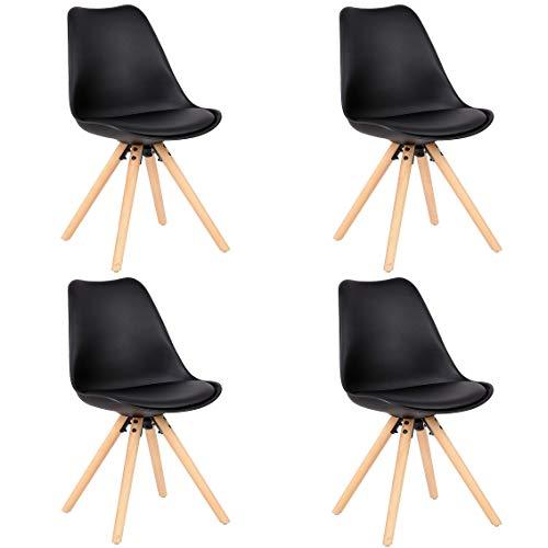 Comfortableplus - Set di 4 sedie da cucina in legno, stile vintage, con gambe in legno di faggio massiccio (nero)