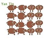 LHXS Set de pegatinas de pared extraíbles, diseño de oveja, marrón, 16pcs 5cm-7.5cm