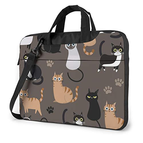 Cute Kitten Funny Cat,Brown Laptop Bag Case Sleeve Briefcase Computer Organizer for Women Men 13'