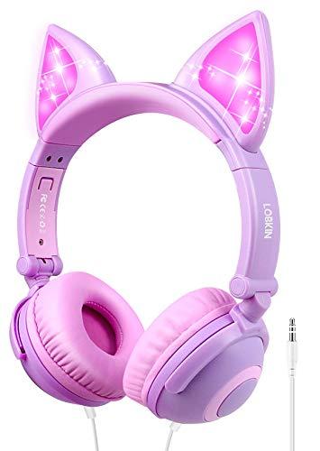 Cuffie Bambina, LOBKIN cuffie orecchie gatto, cuffie con cavo pieghevoli, 85dB Volume,cuffie gaming rosa per bambini.