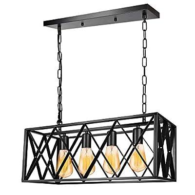 Industrial Kitchen Island Pendant Light Fixture, E26 Vintage Rectangular Pendant Lighting, 4-Light Black Metal Hanging Light, Rustic Light Fixtures for Kitchen Farmhouse Dining Room
