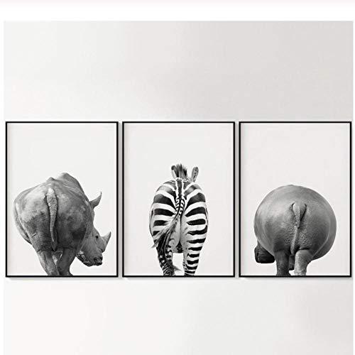 Mmdianpu Gracioso Lámina Animales Rinoceronte Cebra Hipopótamo Blanco Negro Lienzo Pintura Cuadros de la Pared Habitación Infantil Carteles Decoración del hogar (50x70 cmx3 sin Marco)