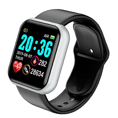 Smart Watch,Y68 Waterproof Heart Rate Test Big Screen Fitness Watch for Men Women Compatible with Andriod iOS Black Silver