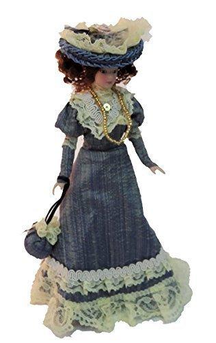 Melody Jane Casa de Muñecas Victoriana Mujer en Azul Conjunto Miniatura Personas Porcelana
