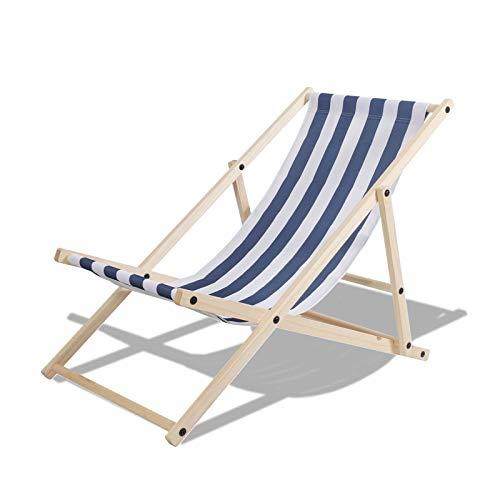 TolleTour klappbar Holzliegestuhl Campingstuhl Abnehmbarem Strandliege für den Garten, Terrasse und Balkon 120 kg max.(Blau-Weiß-gestreift)