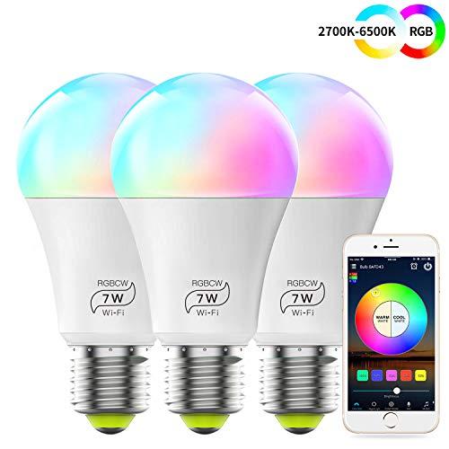 WLAN Smart LED 7W Lampe WIFI Beleuchtung, Dimmbar Kompatibel mit Alexa, IFTTT, Google Home und Siri, Sunset&Sonnenaufgang, Wecker 16 Mio Farben Leuchtmittel E27 Bulbs(3 Pack)