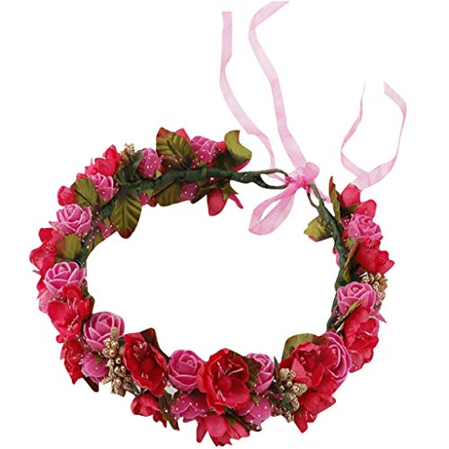 Fineday Women Bridal Flower Garland Headband Flower Crown Hair Wreath Halo, Bridal Supplies, Clothing Shoes & Accessories (Hot Pink)