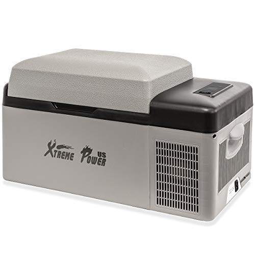 XtremepowerUS 21 Quart Portable Camping Fridge Cooler (Bluetooth Function) Compact for Vehicle Home Car Mini Adjustable Temperature Fridge ECO - Gray