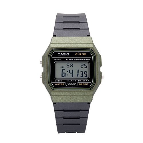 Casio Men's 'Vintage' Quartz Plastic and Resin Casual Watch, Color:Black (Model: F-91WM-3ACF)